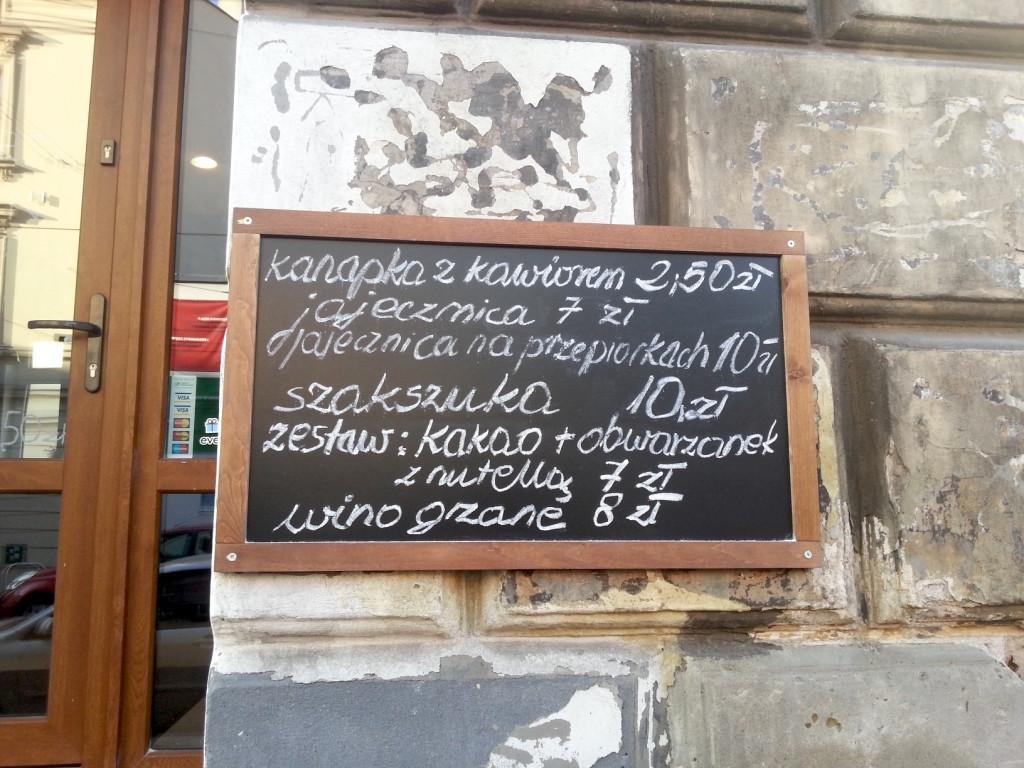 menu przed wejsciem